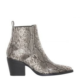 Women's grey snake print cowboy boots - side view - Lipstik Shoes