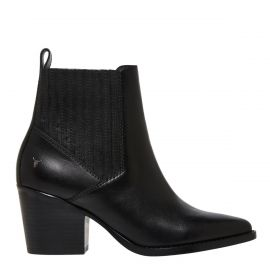 Women's black cowboy boot with concealed gusset