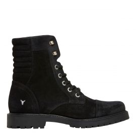 Windsor Smith women's black suede biker boots
