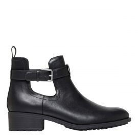 Womens cut out black flat boot - side view - lipstik shoes