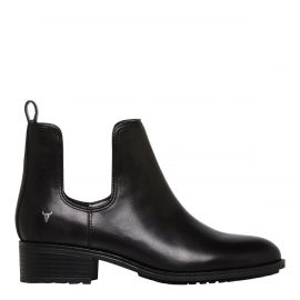 Winston Black Leather cut out ankle boot - side view -  Windsor Smith Shoes