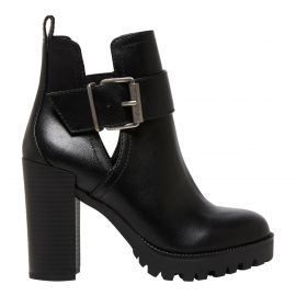 Side view of black high block heel boot with cutout gusset and buckle fastening